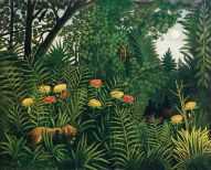 """Henri Julien-Félix Rousseau """"Forêt vierge avec des tigres et des chasseurs"""" (1907)"""